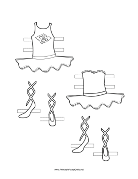 Ballerina Paper Doll Outfits with Rose to Color paper doll