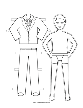 Best Man Paper Doll to Color paper doll
