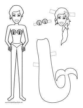 Mermaid Paper Doll to Color paper doll