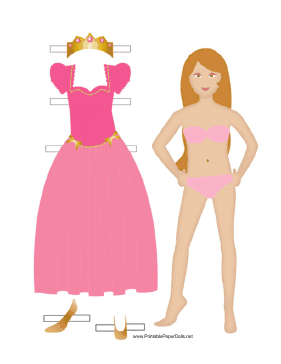 Pink Princess Paper Doll paper doll