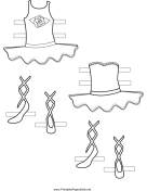 Ballerina Paper Doll Outfits with Rose to Color