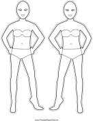 Bodies-for-Hairstyles Paper Doll to Color
