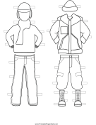 Boy Paper Doll Winter Outfits to Color