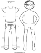 Boy Paper Doll to Color