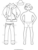 Boy Paper Doll with Winter Clothes to Color