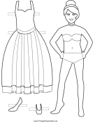Bride Paper Doll to Color
