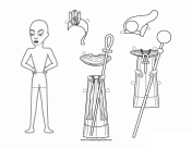 Egyptian Man Paper Doll to Color