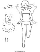 Fairy Paper Doll with Butterfly to Color