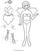 Fairy Paper Doll with Flower to Color