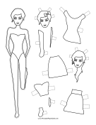 Fashion Paper Doll with Hair Bow to Color