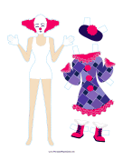 Female Clown with Dress Paper Doll