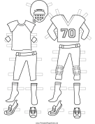 Female Football Player Paper Doll Uniforms to Color
