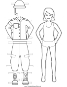 Female Soldier Paper Doll to Color