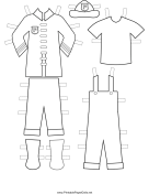 Fireman Paper Doll Uniforms to Color