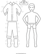 Fireman Paper Doll to Color