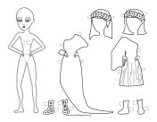 Greek Lady with Laurel Paper Doll to Color
