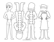 Male Chef with Apron Paper Doll to Color