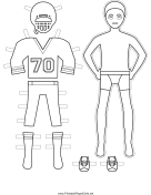 Male Football Player Paper Doll to Color