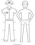Policeman Paper Doll to Color