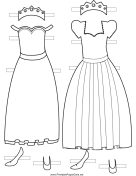 Princess Paper Doll Outfits to Color