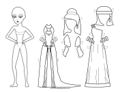 Roman Lady with Long Dress Paper Doll to Color