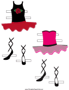 Ballerina Paper Doll with Red/Pink Outfits
