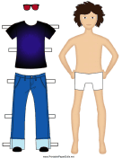 Boy Paper Doll with Jeans