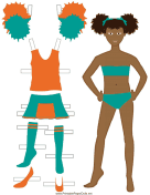 Cheerleader Paper Doll in Orange