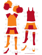 Cheerleader Paper Doll Uniforms in Orange