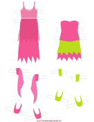 Pink/Green Fairy Paper Doll Outfits