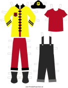 Yellow Paper Doll Fireman Outfits