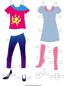 Girl Paper Doll Outfits with Jeans and Dress