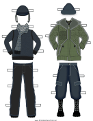 Paper Doll Winter Outfits in Green and Black