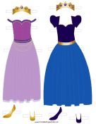 Princess Paper Doll Outfits in Blue and Lavender