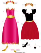 Princess Paper Doll Outfits in Red and Pink