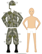Male Soldier Paper Doll