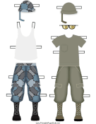 Male Soldier Paper Doll Uniforms